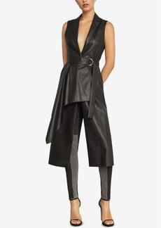 BCBG Max Azria Bcbgmaxazria Faux-Leather Drape-Front Long Vest