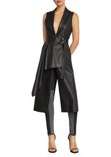 BCBG Max Azria BCBGMAXAZRIA Faux-Leather Drape Front Long Vest
