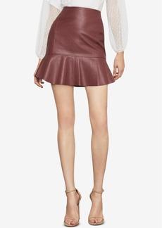 BCBG Max Azria Bcbgmaxazria Faux-Leather Flounced Skirt