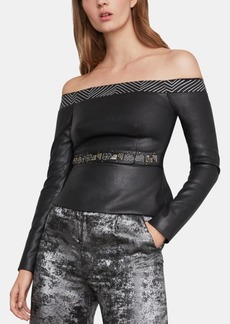 BCBG Max Azria Bcbgmaxazria Faux-Leather Off-The-Shoulder Top