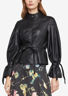 BCBG Max Azria Bcbgmaxazria Faux-Leather Pleated-Sleeve Jacket