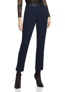 BCBG Max Azria BCBGMAXAZRIA Faux-Leather-Trim Ankle Pants