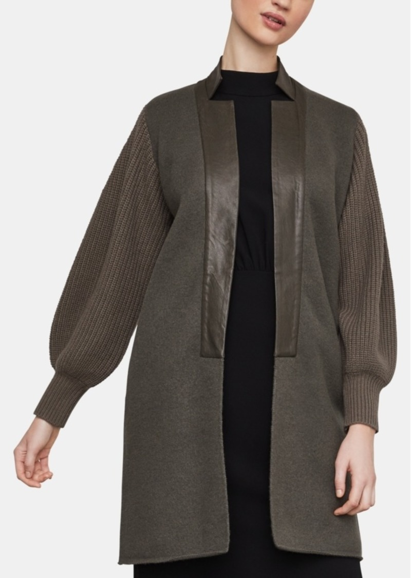 BCBG Max Azria Bcbgmaxazria Faux-Leather-Trim Cardigan