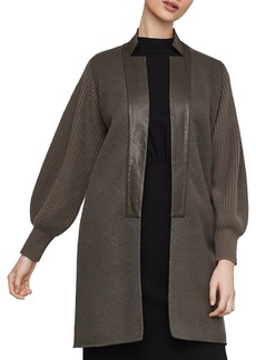 BCBG Max Azria BCBGMAXAZRIA Faux Leather-Trim Long Cardigan