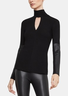 BCBG Max Azria Bcbgmaxazria Faux-Leather-Trim Turtleneck Top