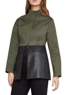 BCBG Max Azria BCBGMAXAZRIA Faux Leather-Trimmed Peplum Jacket
