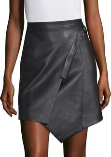 Faux Leather Wrap Front Skirt
