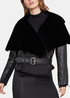 BCBG Max Azria Bcbgmaxazria Faux-Shearling Leather Moto Jacket