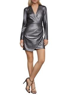 BCBG Max Azria BCBGMAXAZRIA Faux-Suede Surplice Dress