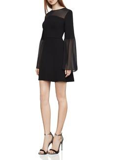 BCBGMAXAZRIA Finley Sheer-Detail Bell Sleeve Dress