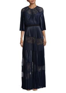 BCBGMAXAZRIA Floor-Length Pleated Silk Evening Gown
