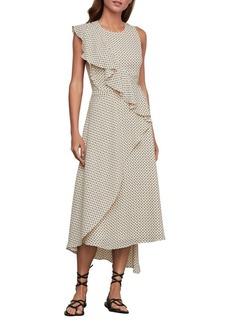 BCBG Max Azria BCBGMAXAZRIA Floral Dots Asymmetric Ruffle Dress