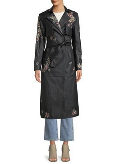 BCBG Max Azria BCBGMAXAZRIA Floral-Embroidered Faux-Leather Trench Coat
