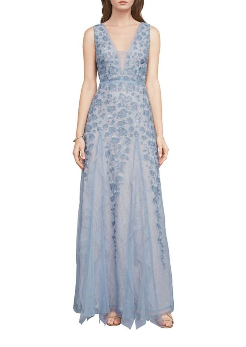 b5c9bac8ad8 BCBG Max Azria BCBGMAXAZRIA Floral Lace Fit and Flare Gown