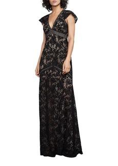 BCBGMAXAZRIA Floral Lace Floor-Length Gown