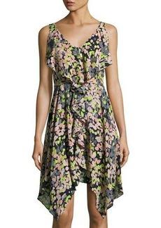 BCBGMAXAZRIA Floral-Print Asymmetric Ruffle Dress