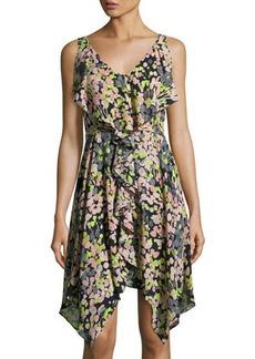 BCBG Max Azria BCBGMAXAZRIA Floral-Print Asymmetric Ruffle Dress