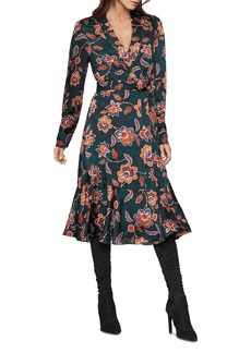 BCBG Max Azria BCBGMAXAZRIA Floral Satin Georgette Wrap Dress