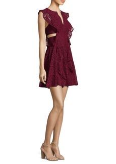 BCBG Max Azria Flutter Sleeve Cutout Lace Dress