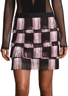 BCBGMAXAZRIA Fringed Mini Skirt