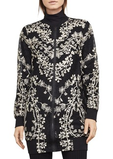 BCBG Max Azria BCBGMAXAZRIA Gabriel Embroidered Lace Long Bomber Jacket