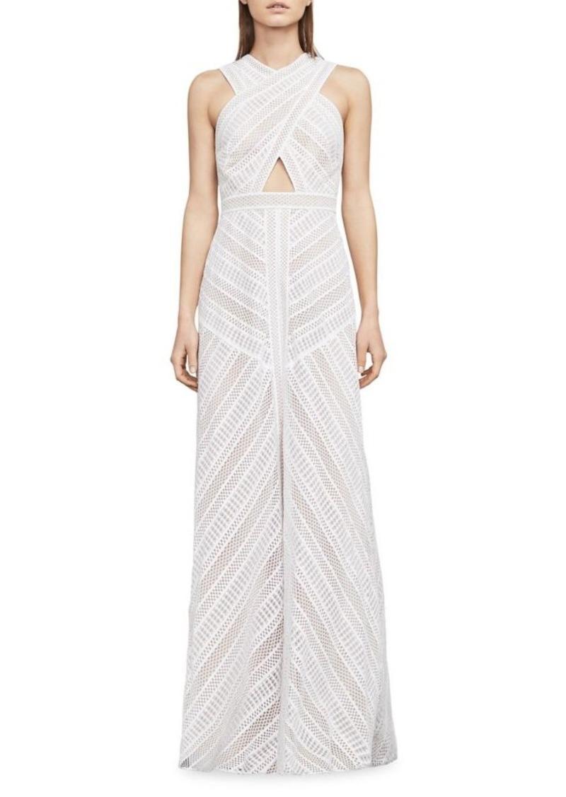 BCBG Max Azria BCBGMAXAZRIA Genelle Lace Halter Gown Now $278.60