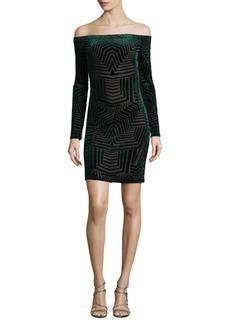 BCBGMAXAZRIA Geometric Off-The-Shoulder Mini Dress