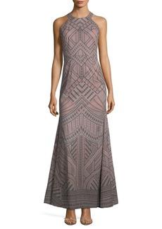 BCBGMAXAZRIA Geometric-Print Evening Dress