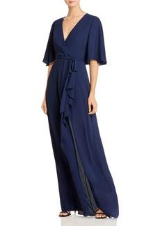 BCBG Max Azria BCBGMAXAZRIA Georgette Faux-Wrap Capelet Gown