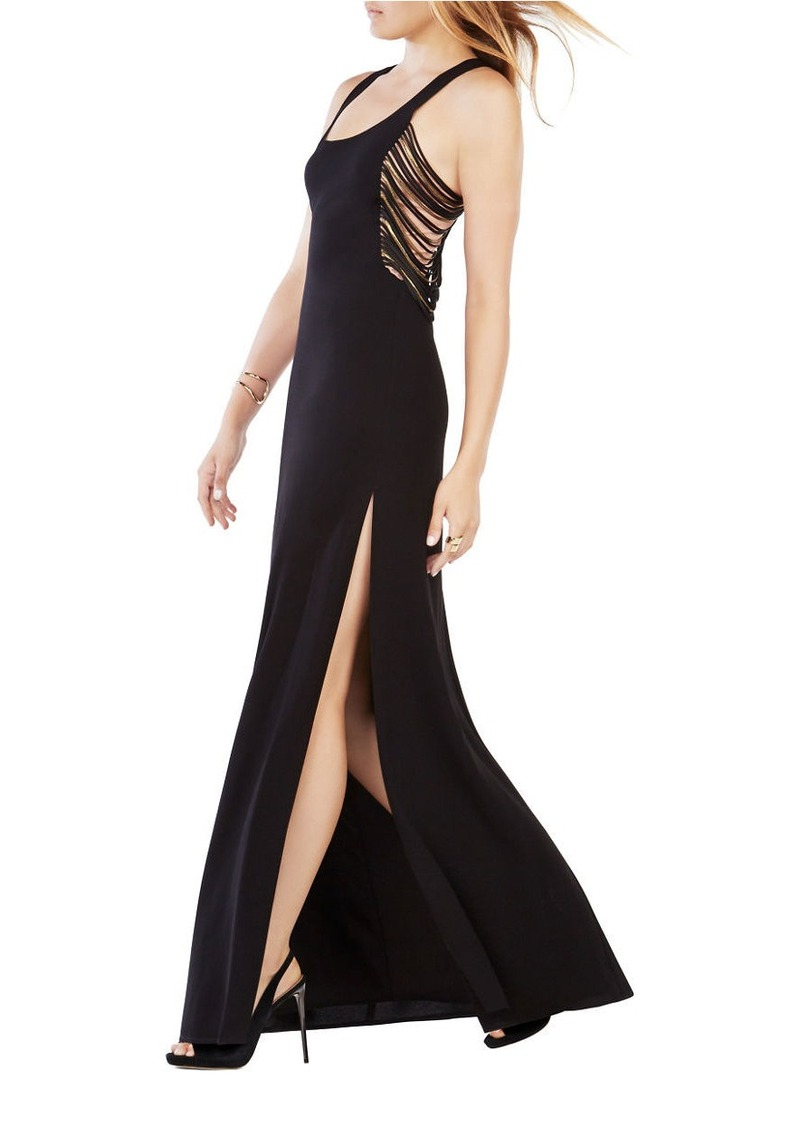 BCBG Max Azria BCBGMAXAZRIA Georgina Fringed Sleeveless Gown