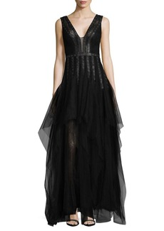 BCBGMAXAZRIA Grommeted Faux-Leather Trimmed A-Line Gown
