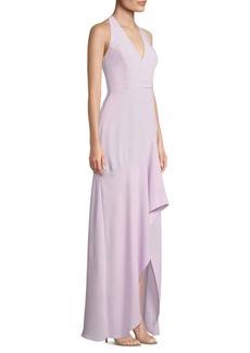 BCBG Max Azria Halter Deep V-Neck Gown