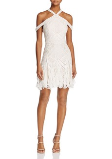 BCBGMAXAZRIA Halter Lace Ruffle-Hem Dress