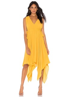 BCBG Max Azria BCBGMAXAZRIA Handkerchief Midi Dress In Goldenglow