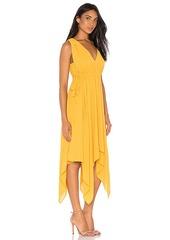 BCBG Max Azria BCBGMAXAZRIA Handkerchief Midi Dress In Goldenglow