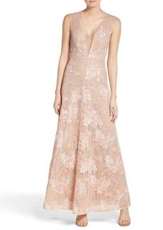 BCBGMAXAZRIA Illusion V-Neck Lace Gown