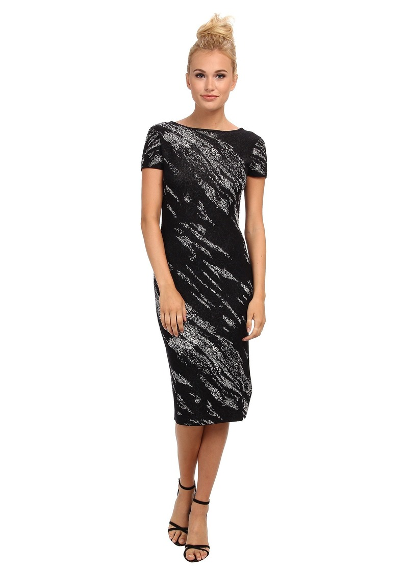 BCBG Max Azria BCBGMAXAZRIA Jackee Crackled Jacquard Deep V Dress