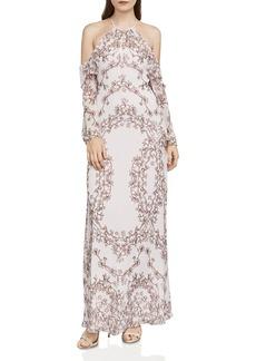 BCBGMAXAZRIA Jaime Vine Print Cold-Shoulder Gown
