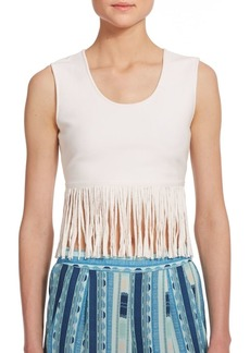 BCBG Max Azria Jaleigh Fringe Cropped Top