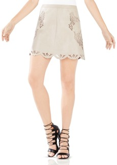 BCBGMAXAZRIA Jennifer Embroidered Faux Leather Skirt