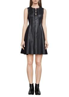 BCBGMAXAZRIA Jolee Knit Faux Leather Fit-&-Flare Dress