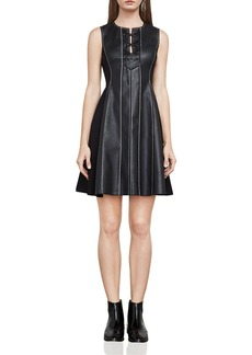 BCBGMAXAZRIA Jolee Lace-Up Faux Leather Dress