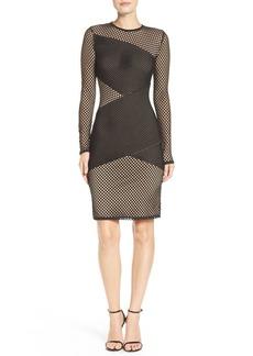 BCBG Max Azria BCBGMAXAZRIA Jorden Asymmetrical Mesh Body-Con Dress
