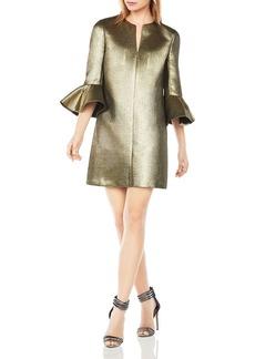BCBGMAXAZRIA Judy Metallic Bell Sleeve Shift Dress