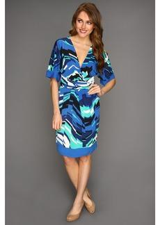 "BCBGMAXAZRIA ""Kaitlin"" S/S Printed Matte Jersey Wrap Dress"