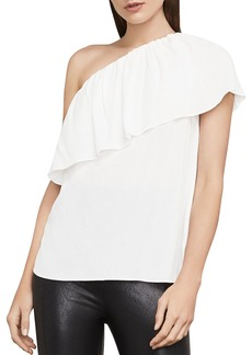 BCBG Max Azria BCBGMAXAZRIA Kamila Ruffled One-Shoulder Top