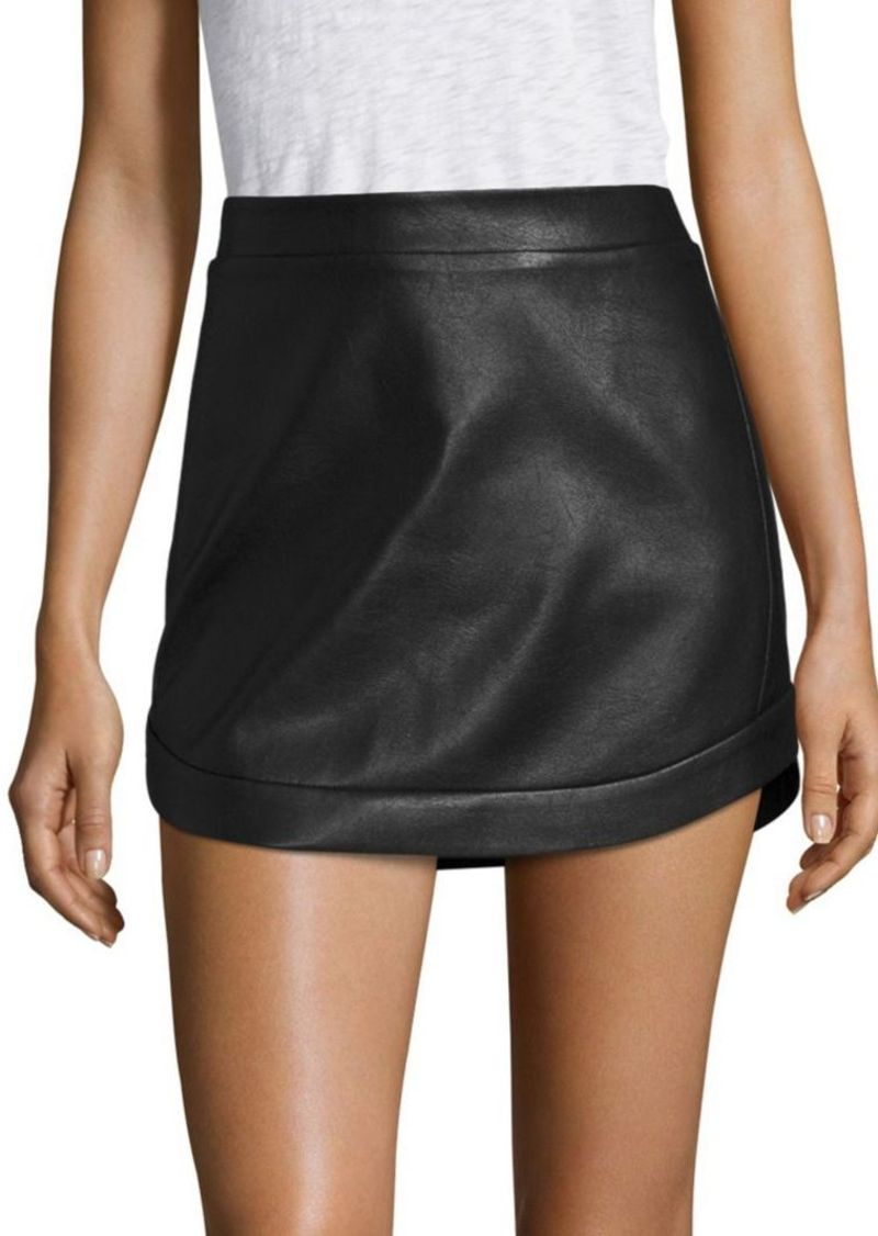 BCBG Max Azria BCBGMAXAZRIA Kanya Curved Hem Leather Mini Skirt
