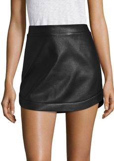 BCBG Max Azria Kanya Curved Hem Leather Mini Skirt