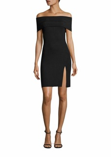 BCBG Max Azria BCBGMAXAZRIA Kaori Off-The-Shoulder Rib-Knit Dress
