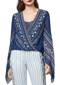 BCBG Max Azria BCBGMAXAZRIA Kasia Handkerchief-Sleeve Silk Chiffon Wrap Top